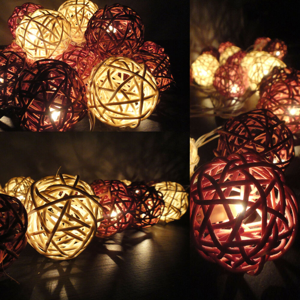 String Lights For Home Decor : 20 Mixed Earth Tone Handmade Rattan Balls Fairy String Lights Party Home Decor eBay