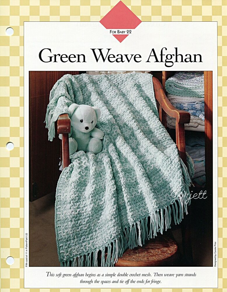 Green Crochet Afghan Pattern : Green Weave Afghan crochet pattern eBay