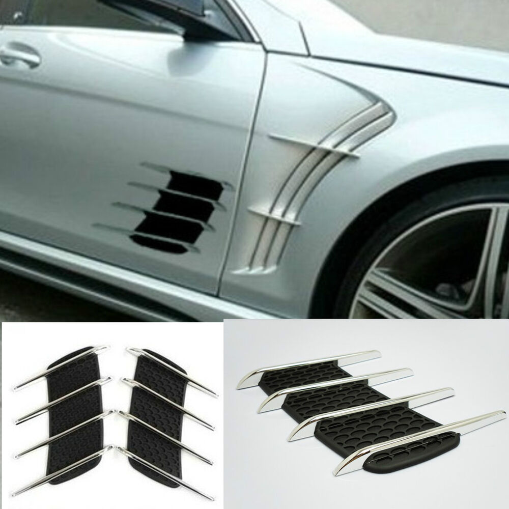 Chrome Silver Exterior Decorative Hood Side Air Intake Vent Air Flow Grille Pair Ebay