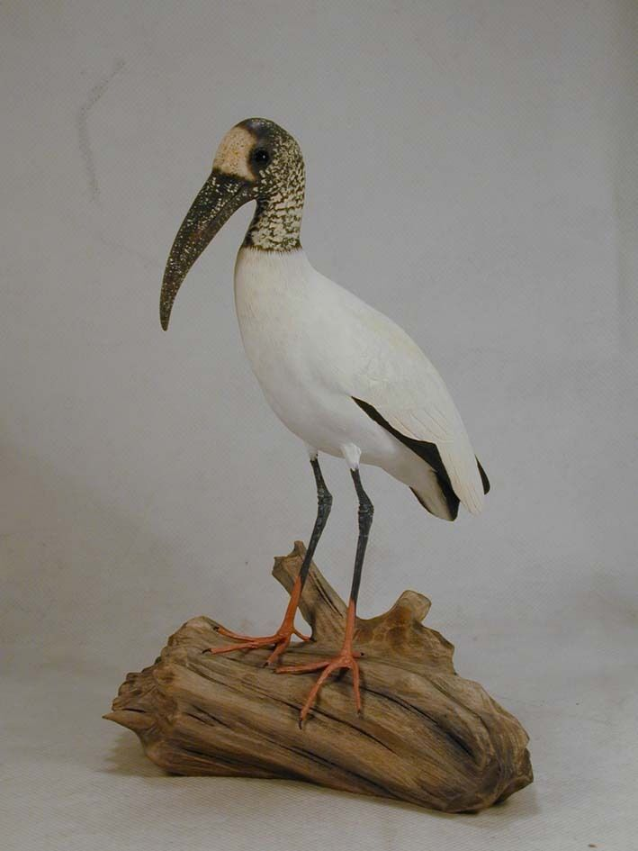 6 wood stork original wood carving ebay. Black Bedroom Furniture Sets. Home Design Ideas