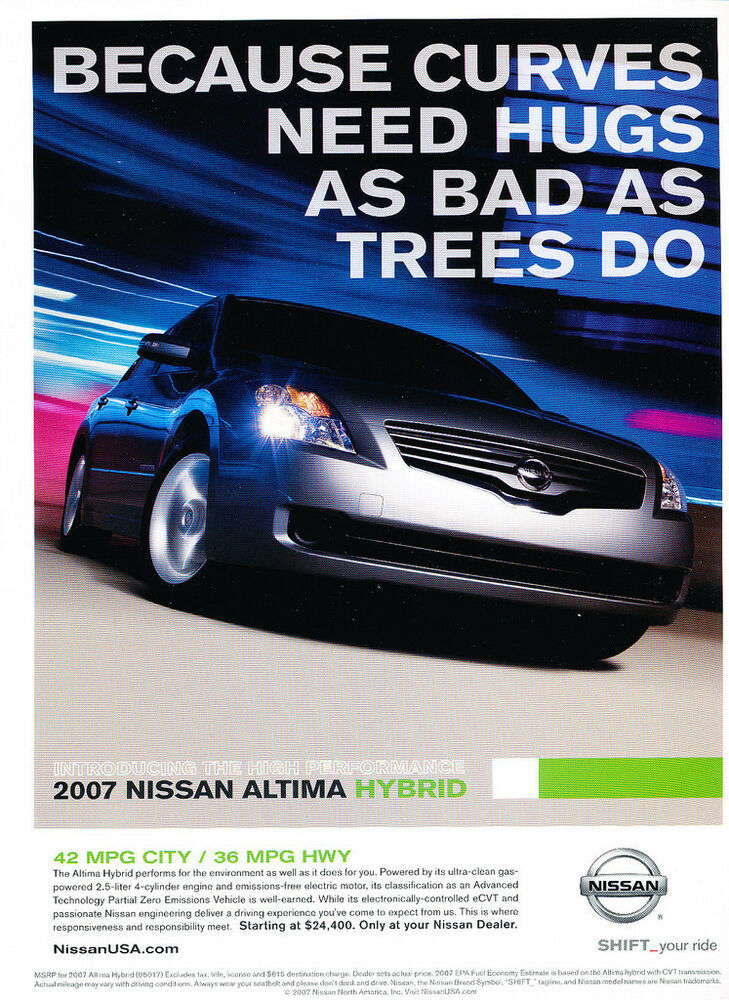 Used Nissan Altima For Sale >> 2007 Nissan Altima Hybrid - Classic Car Advertisement ...