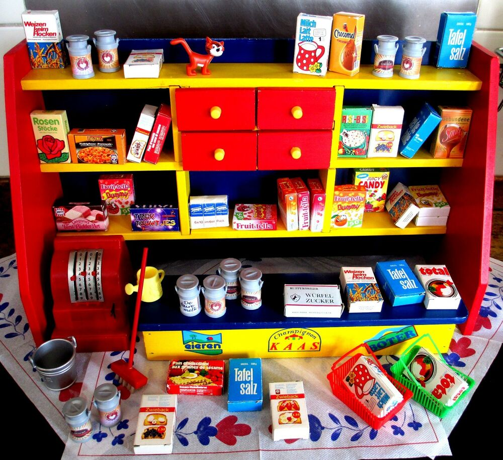 60 S Toys : Vintage s wooden play set shop kitchen childrens