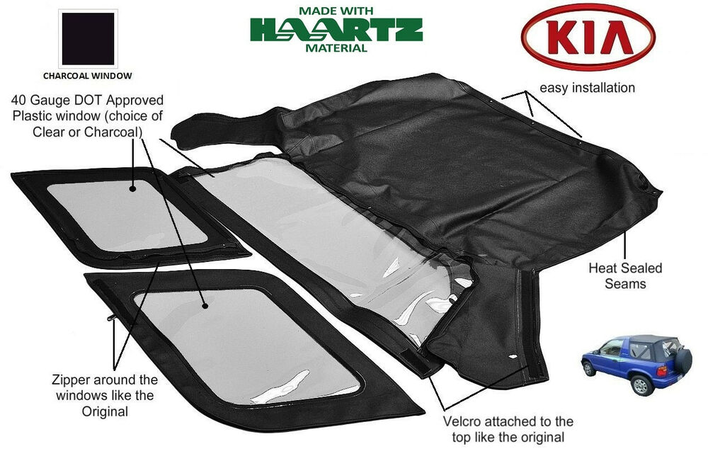 Fits Kia Sportage 1996 2002 Convertible Soft Top Replacement Charcoal Window Ebay