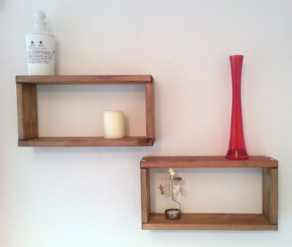 Contemporary solid wood box shelf hand crafted in uk