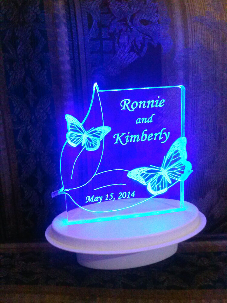 personalized 2 butterflies butterfly wedding cake topper optional led light base ebay. Black Bedroom Furniture Sets. Home Design Ideas