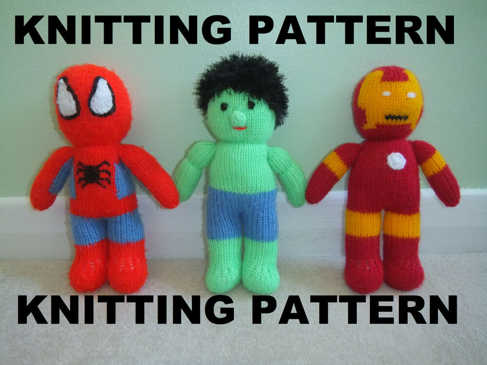 KNITTING PATTERN TO MAKE YOUR OWN IRON MAN, SPIDERMAN, OR