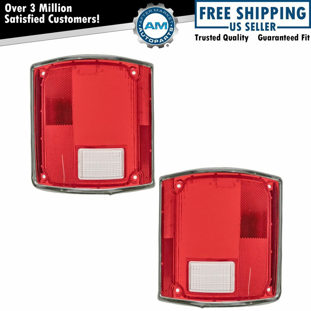 tail light bezel tail light tail lamp lens w chrome bezel trim pair set for 73 91