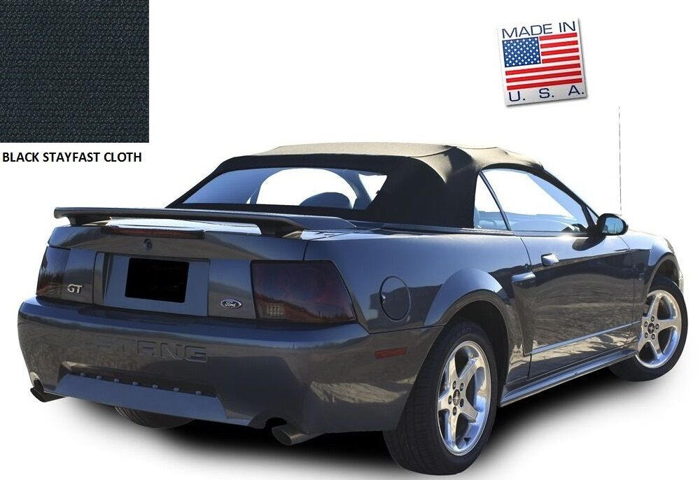 Ford Mustang Convertible Top Amp Defroster Glass Window Black Stayfast Cloth 94 04 Ebay