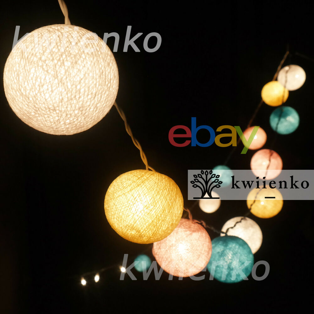 pastel lantern cotton balls fairy string lights hanging decor bedroom