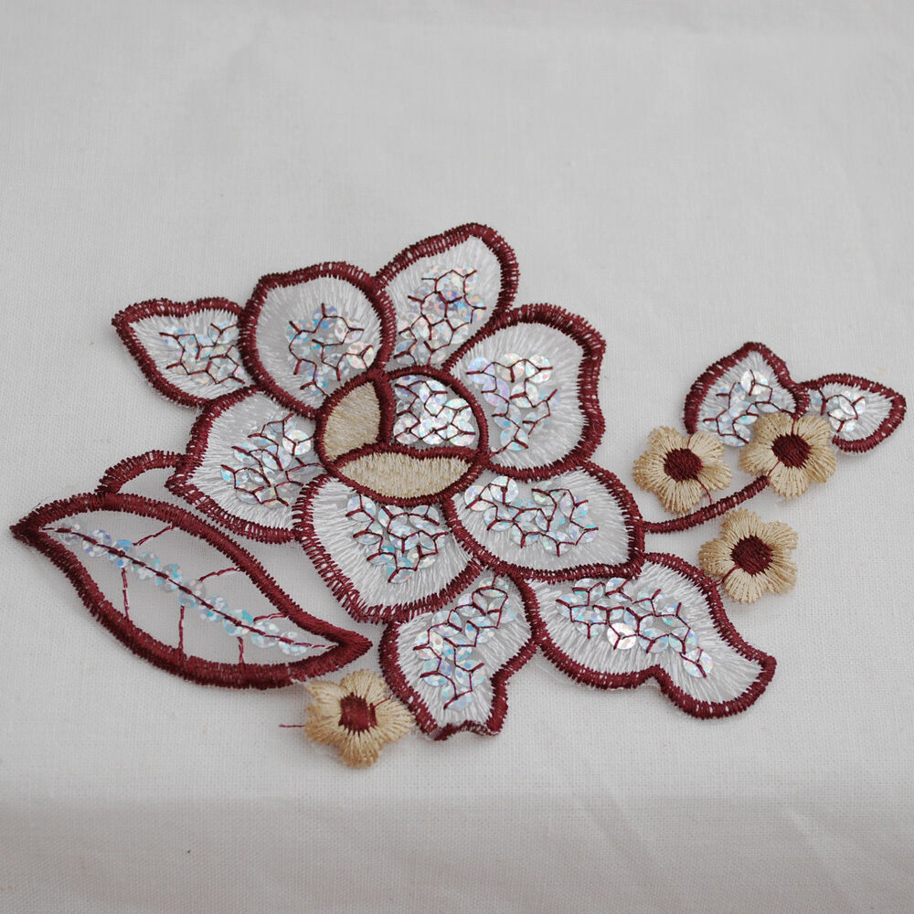 Lace motifs sequin beaded embroidery flower trim