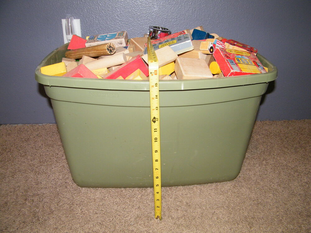 Large tote of wooden building blocks vintage colored