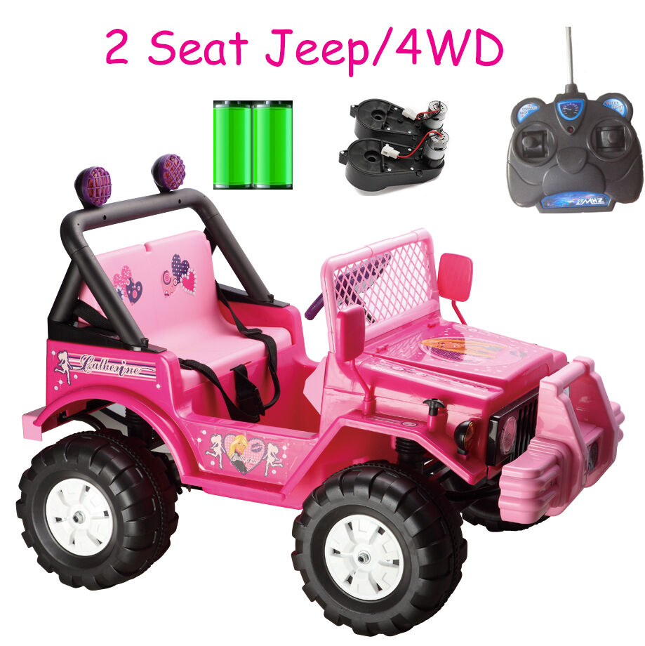 XMAS GIFT FOR GIRLS RIDE ON CAR KID TOY PINK 2 SEAT 4WD