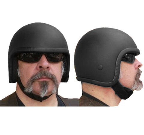 New Black Skull Cap Open Face Outlaw Cannonball Novelty