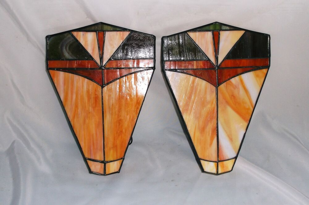 Leaded Glass Wall Sconces : Pair of Art Deco Stained Glass Slag Glass Wall Sconce Light Fixtures eBay
