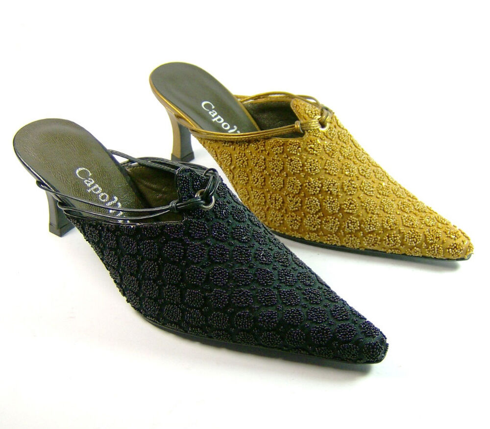 capollini beaded leather lined evening shoes black or gold