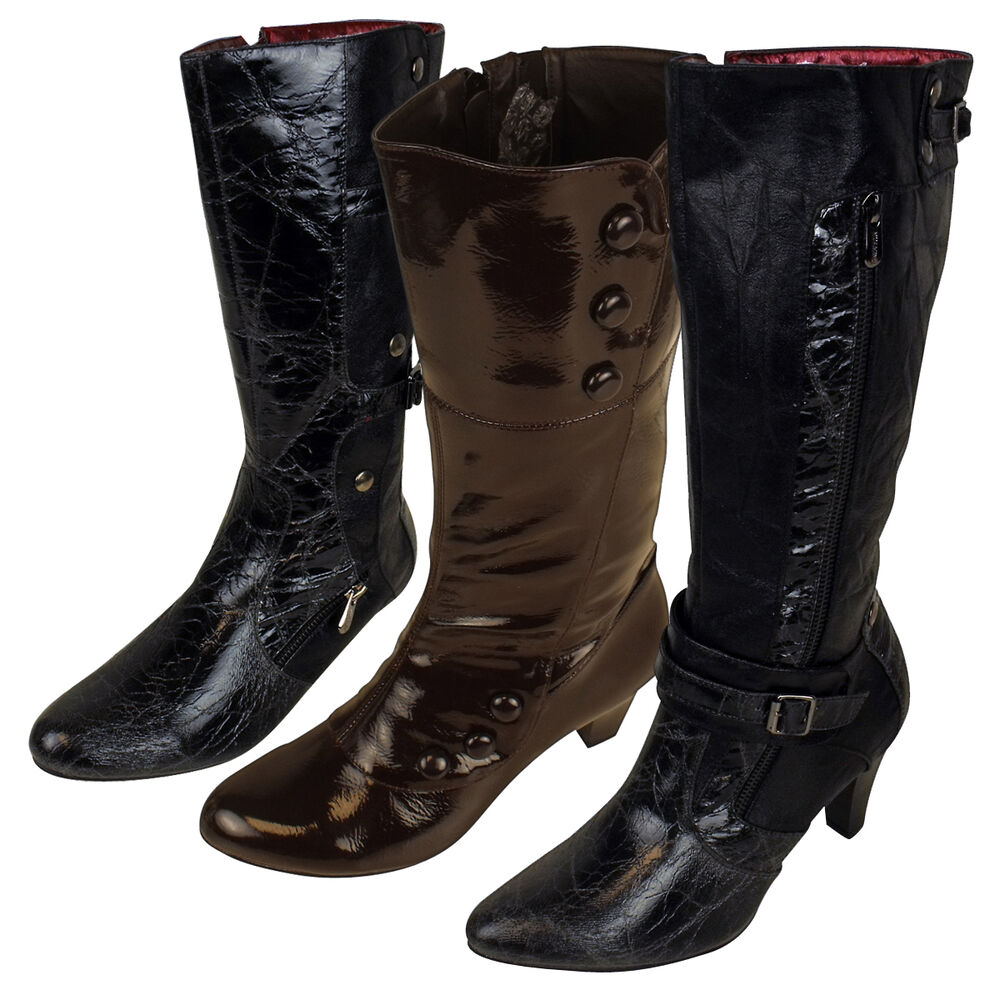 womens faux leather mid calf designer boots ladies heel