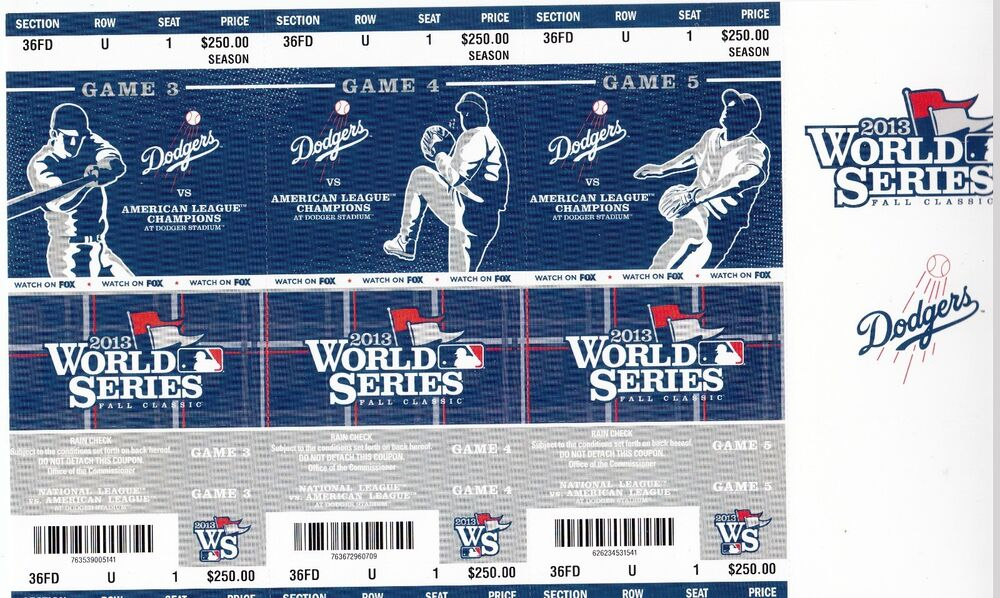 los angeles dodgers phantom world series season ticket sheet set ebay