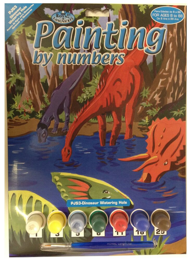 A4 DINOSAURS AT WATERING HOLE JURRASIC PARK PAINTING PAINT ...