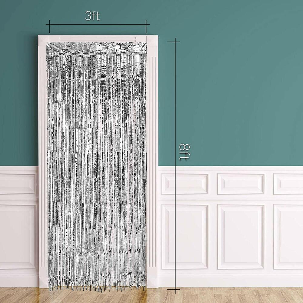 Silver Metallic Fringe Curtain Party Foil Tinsel Room