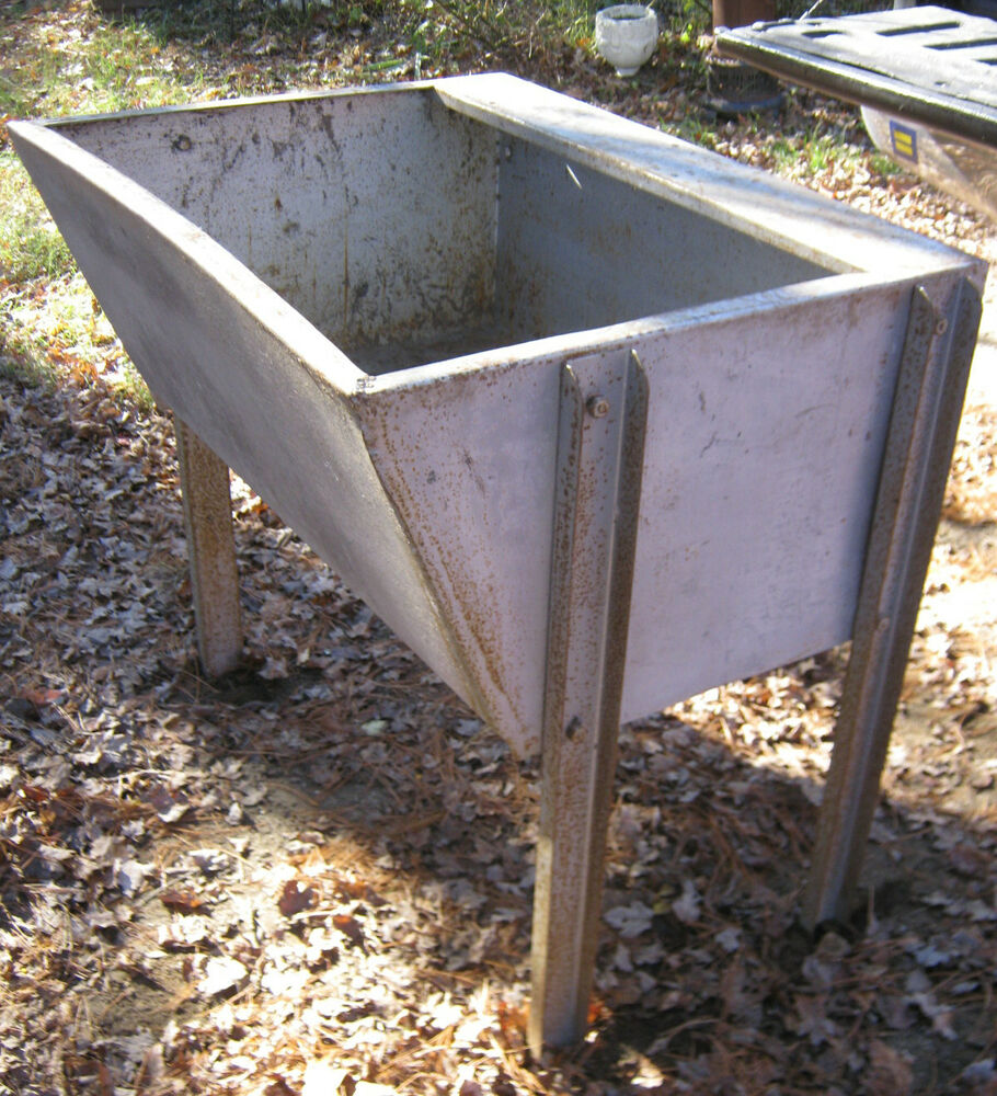 Antique industrial steel usa steampunk basin table wash for Large metal tub for gardening