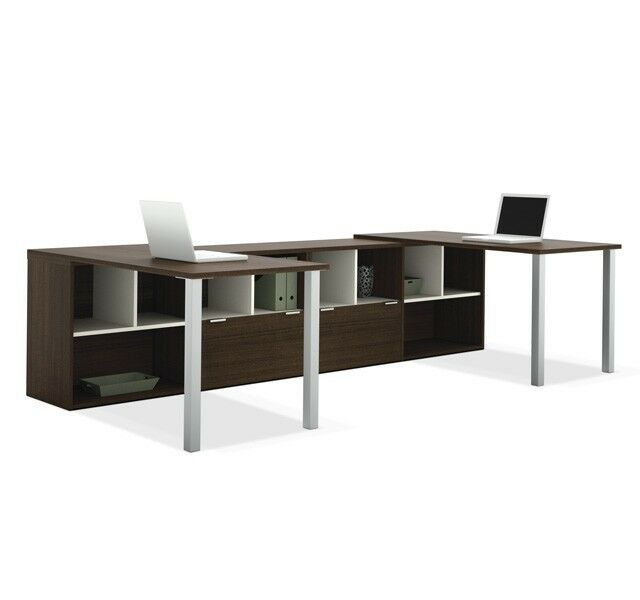 2 Person U Shaped Office Furniture Desk Work Area With