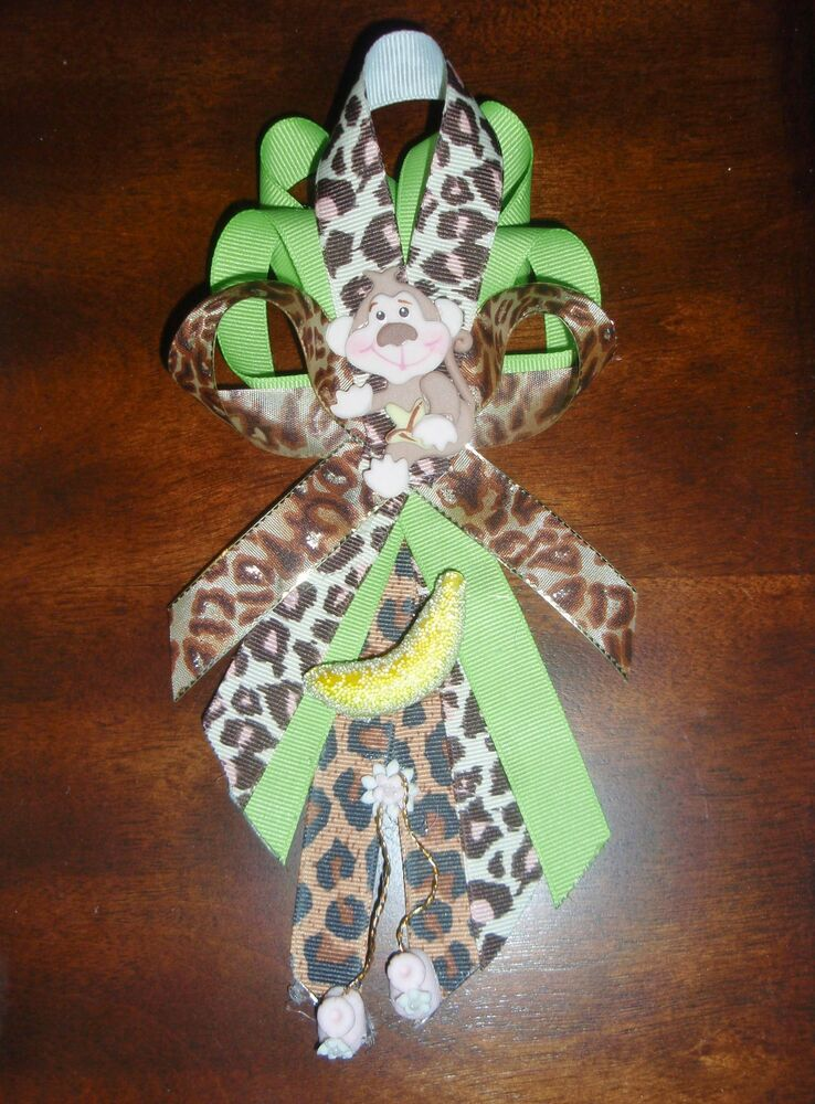 monkey baby shower corsage girl safari jungle theme party mother to be