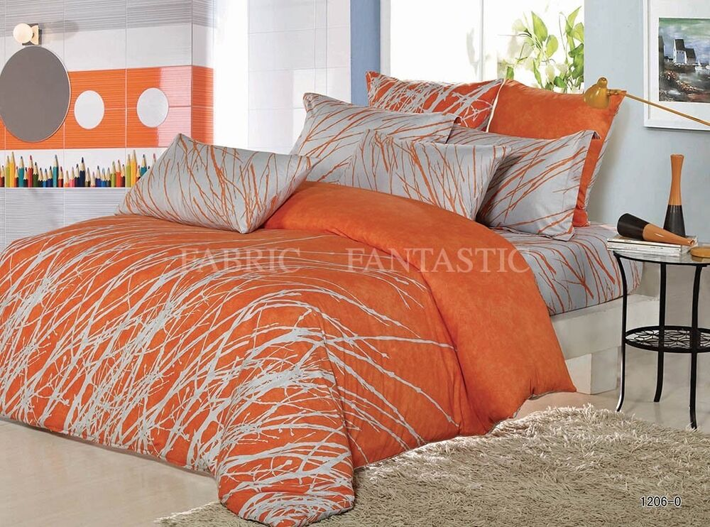 Orange Tree Sheet Set Double Queen King Size Bed Flat