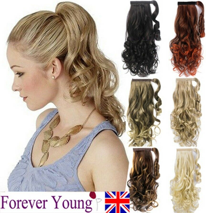 Ponytail Pony Tail Hair Extension Wavy Style Wrap On Hair