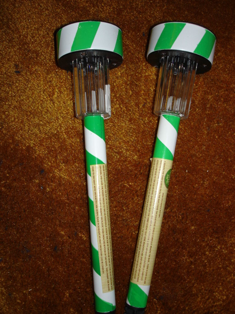 Solar Candy Cane Stick Lights Green And White Lot Of 2 Ebay
