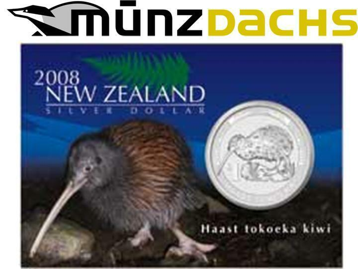 1 Dollar Kiwi New Zealand 2008 1 Oz 999 Fine Silver Bu