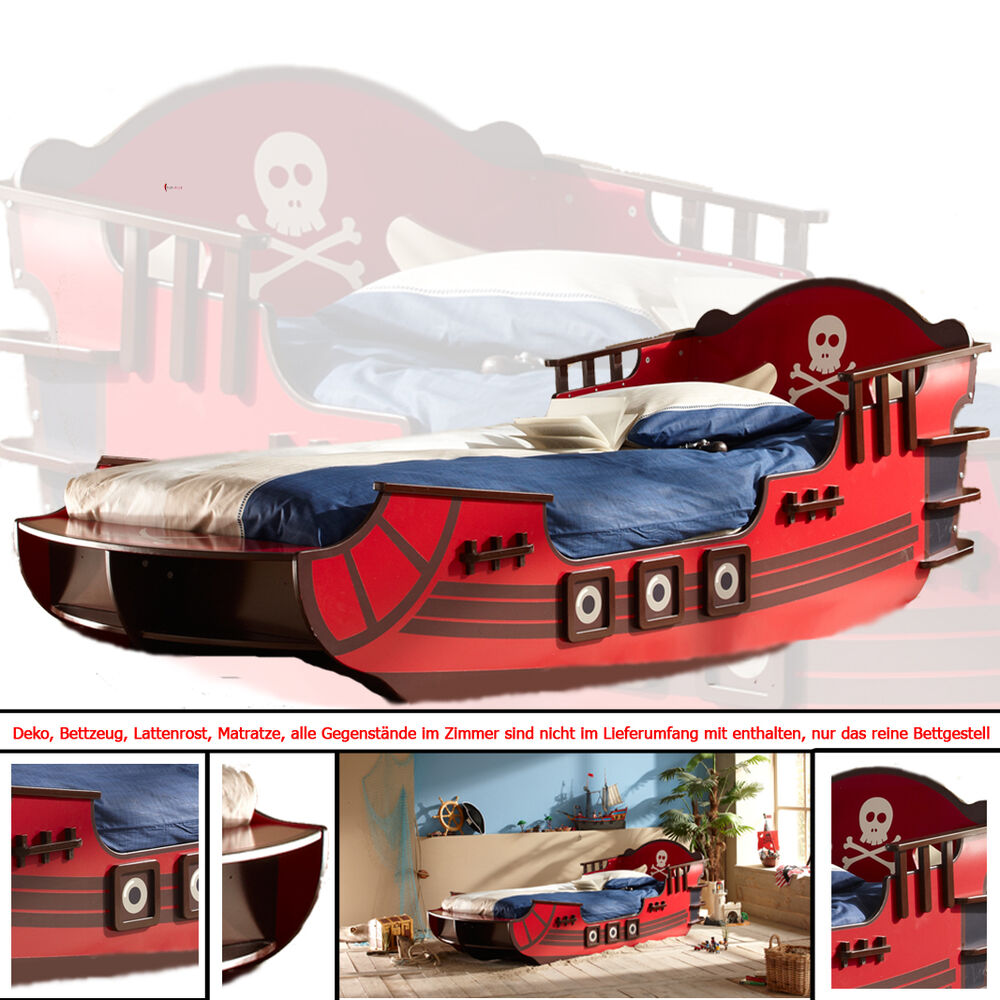 kinderbett piratenschiff rot piratenbett seer uber piraten. Black Bedroom Furniture Sets. Home Design Ideas
