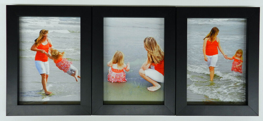 4x5 4x6 5x7 8x10 Matte Black Wood Picture Photo Frame Triple Hinged