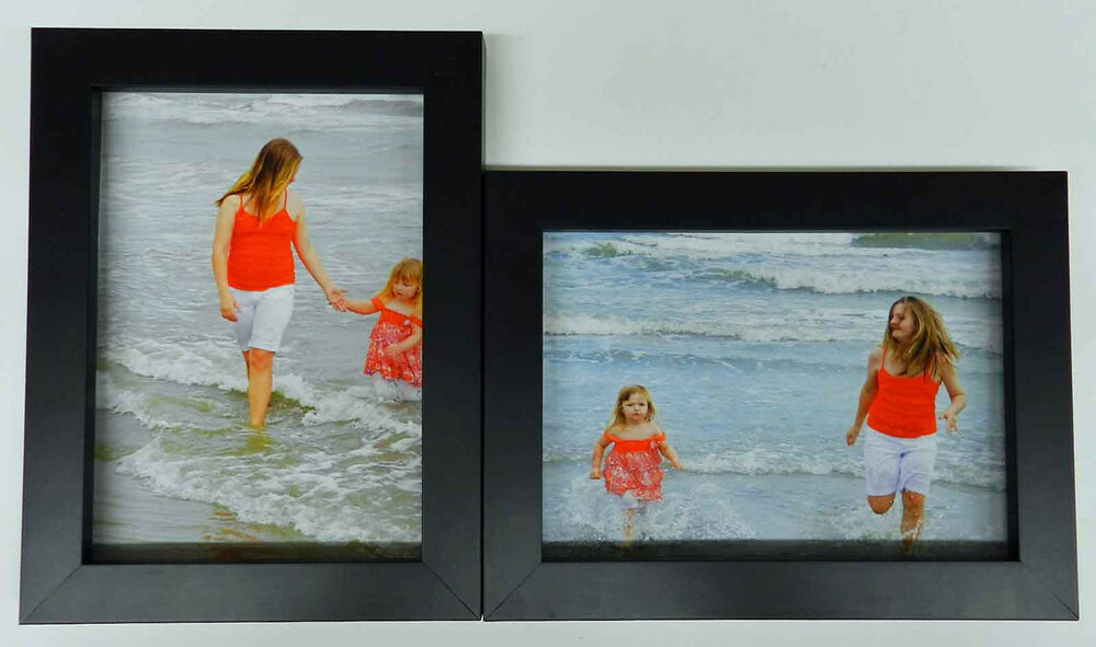 4x5 4x6 5x7 8x10 matte black wood picture photo frame double hinged new ebay. Black Bedroom Furniture Sets. Home Design Ideas