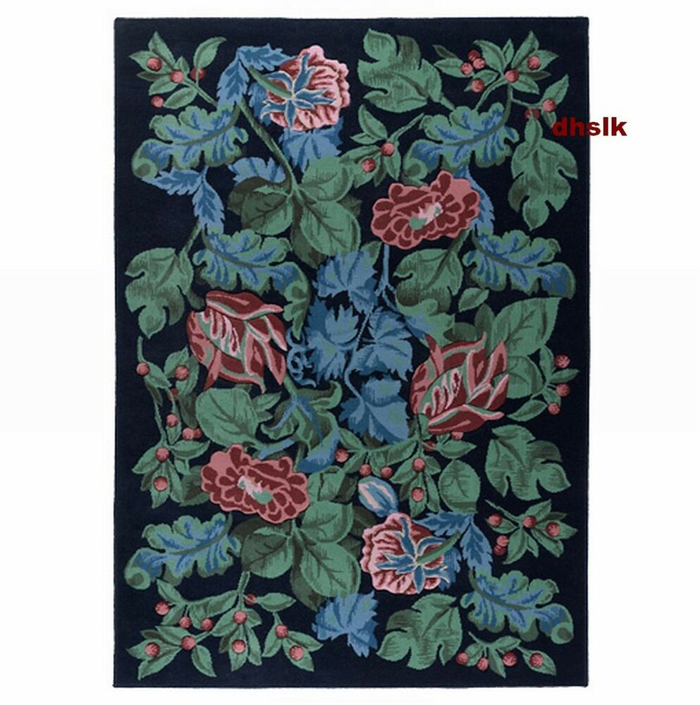 IKEA EMMIE PARLA Area RUG BLUE Pink Green FLORAL Wool