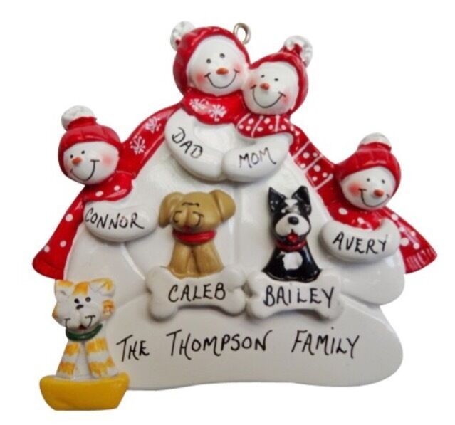 Personalized snowman family of 4 with 3 dogs christmas for Family of 4 christmas ornament