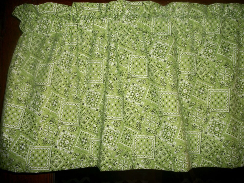 Http Www Ebay Com Itm Lime Green Paisley Bandana Country Farm Kitchen Western Fabric Curtain Valance 310810581966