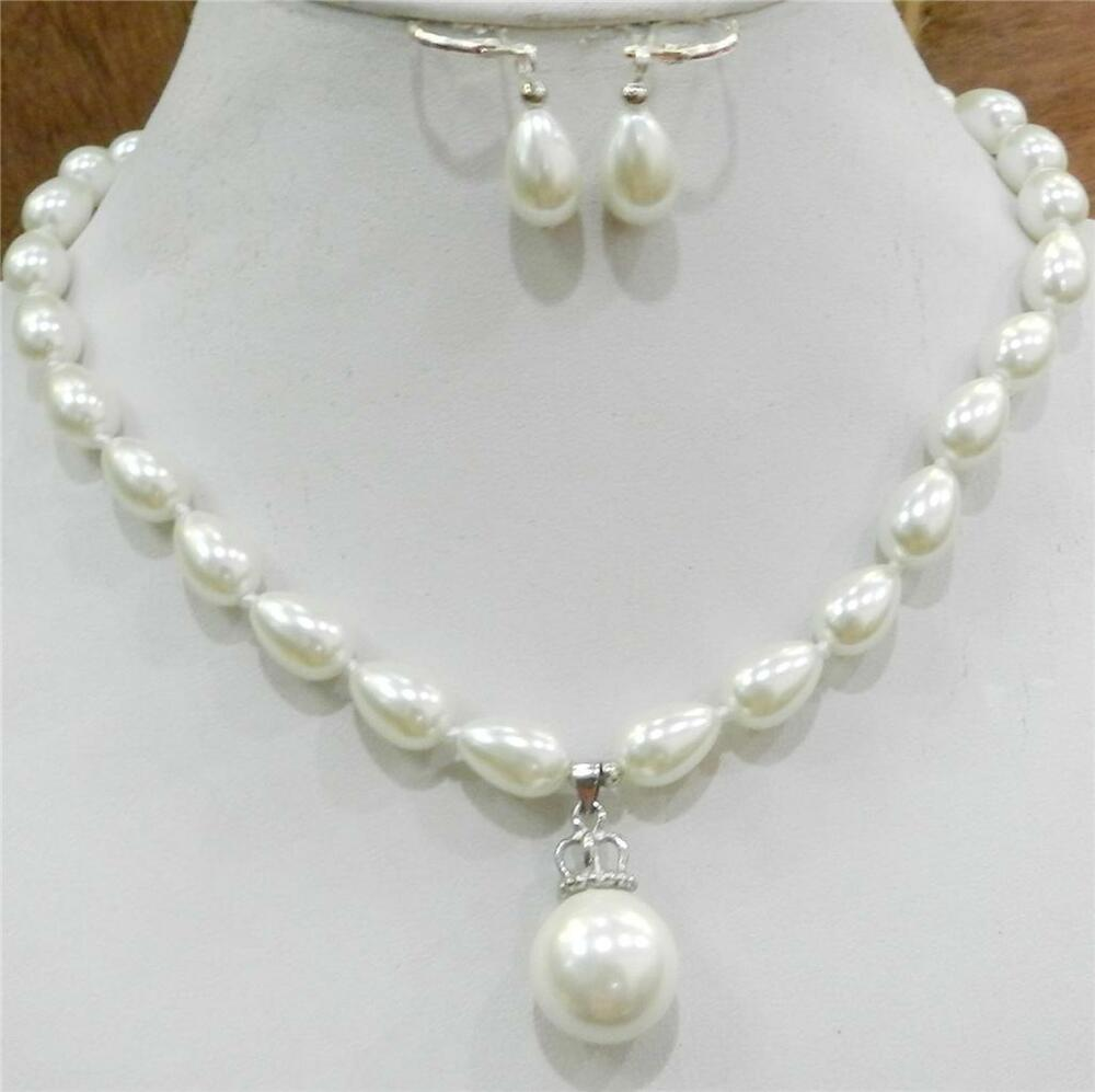 White Pearl Pendant Necklace: Teardrop White 9x13mm Akoya Cultured Shell Pearl Necklace
