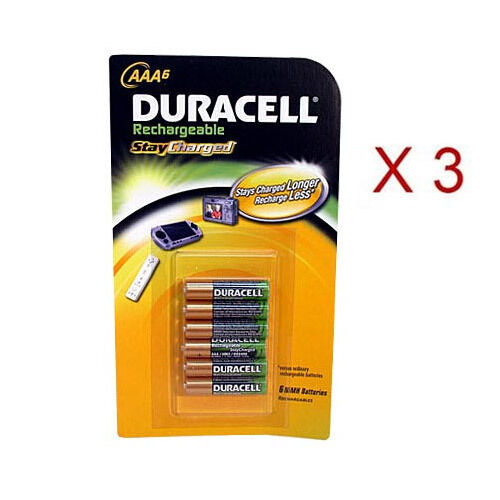 duracell aaa pre charged rechargeable stay charged aaa batteries 3 6packs 18 ebay. Black Bedroom Furniture Sets. Home Design Ideas