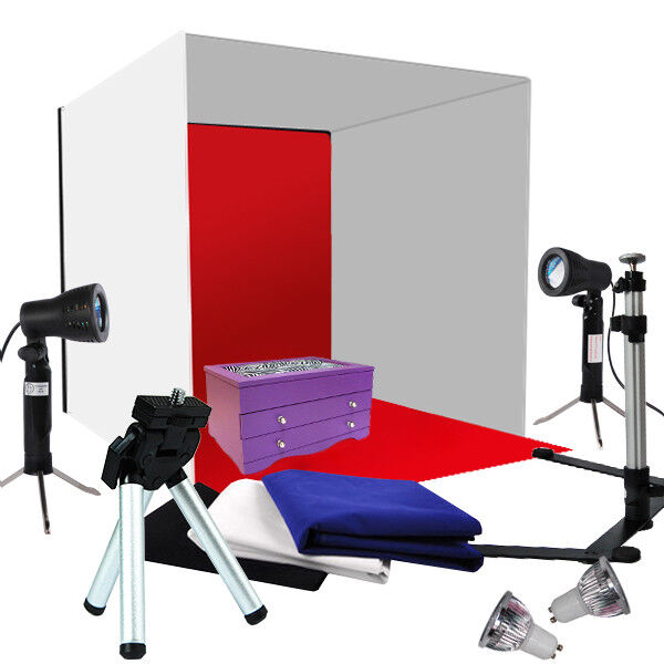 photo studio photography light tent backdrop kit cube 60cm. Black Bedroom Furniture Sets. Home Design Ideas