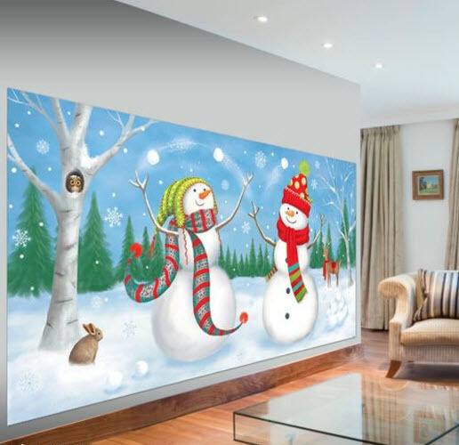 Wall Decoration For Event : Snowmen juggling setter christmas holiday party wall