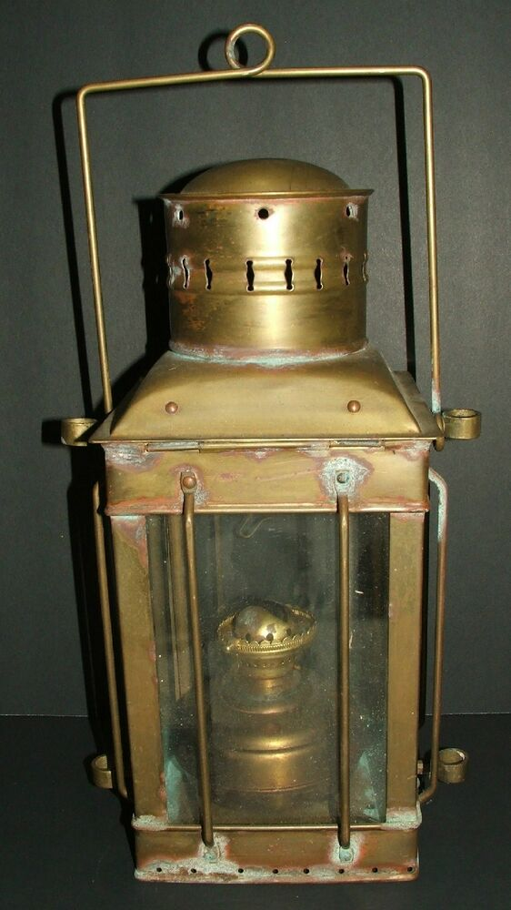 Antique/Vintage Neptune ship brass kerosene oil lantern w ...