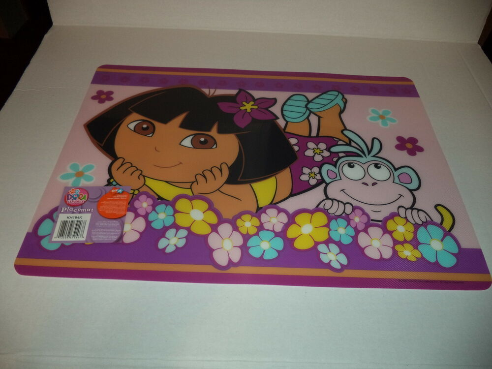 Place Mat With Dora The Explorer And Boots Laying Down In