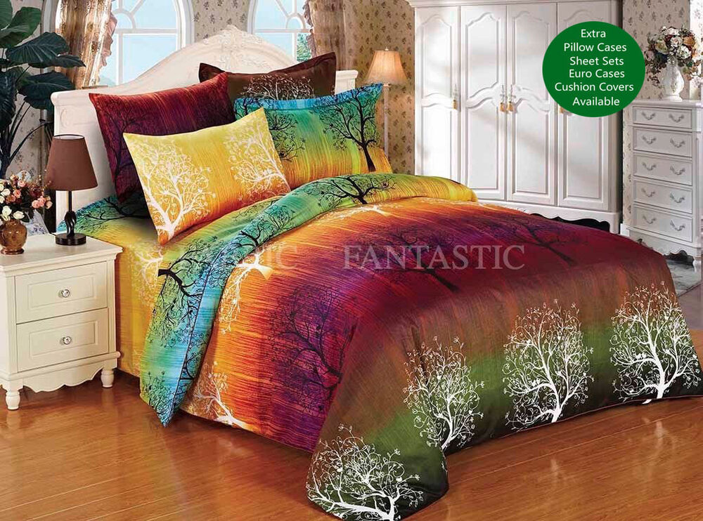 rainbow tree duvet doona quilt cover set queen king size super king size bed new ebay. Black Bedroom Furniture Sets. Home Design Ideas