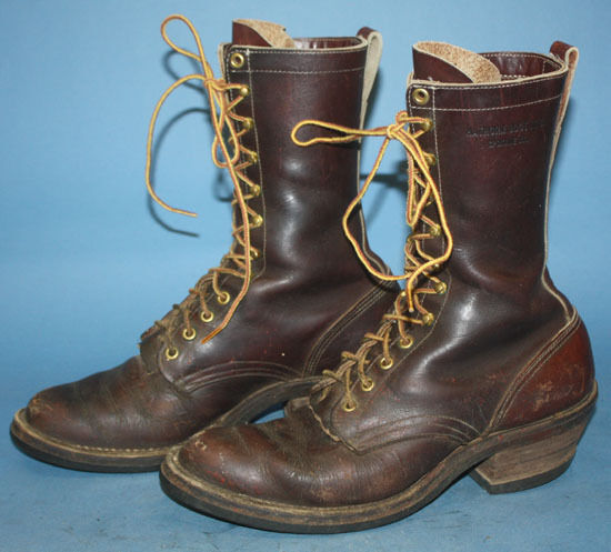 Mens Vintage Hathorn Brown Leather Lineman Smoke Jumper