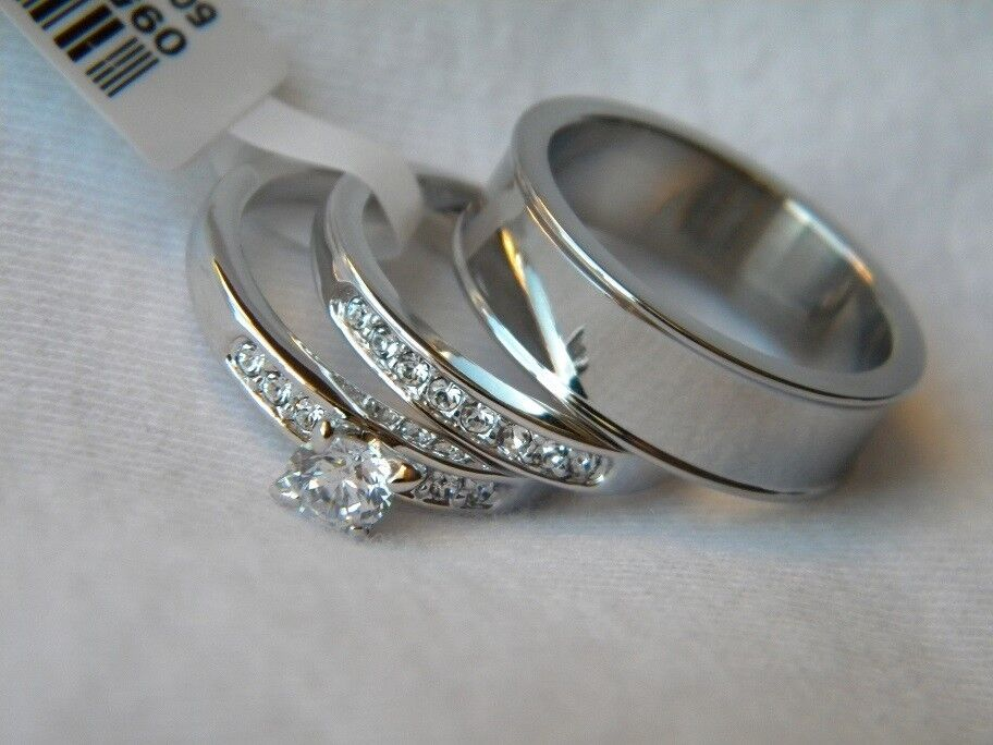 3 Piece His And Hers Wedding Ring Set Couples Wedding Rings FREE BOX FAST