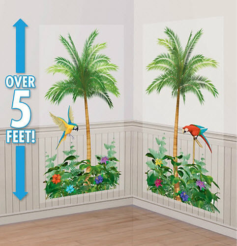 Palm trees scene setter luau party wall decor kit 5 for Palm tree decorations for the home