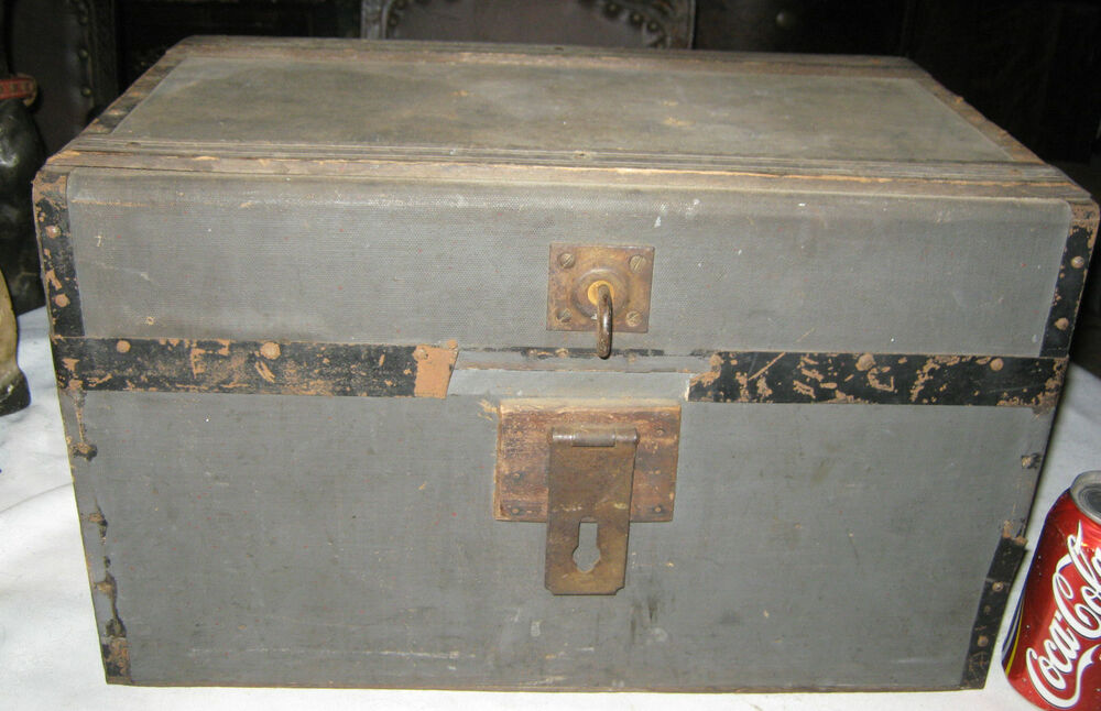 Antique Primitive Country Wood Lock Document Box Trunk