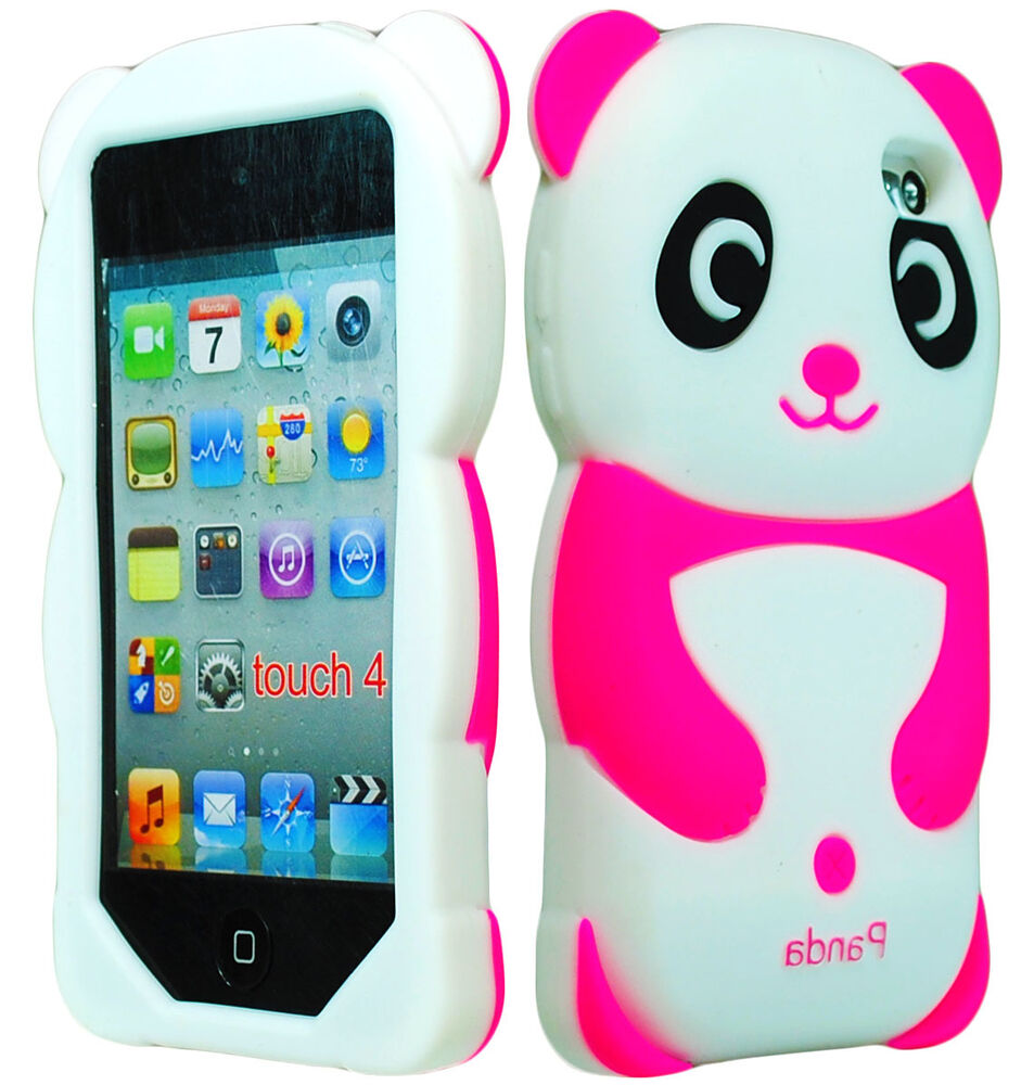 Cute Pink Panda 3D Animal Silicone Case Cover for iPod ... Ipod Touch 4th Generation Cases For Girls