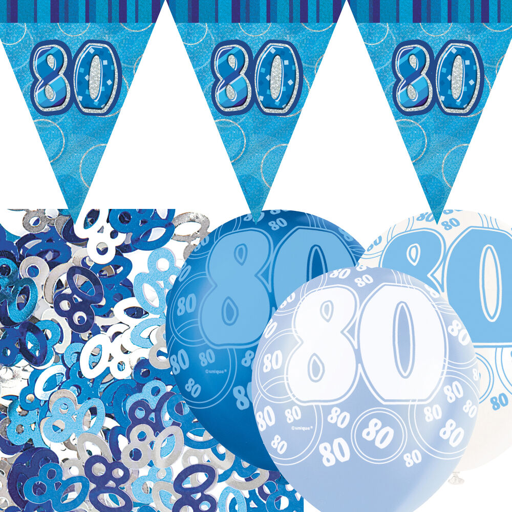 Blue silver glitz 80th birthday flag banner party for 80th decoration