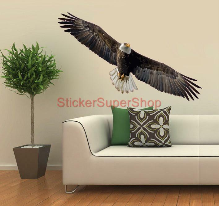 Bald eagle artwork animals decal removable wall sticker for Eagle decorations home